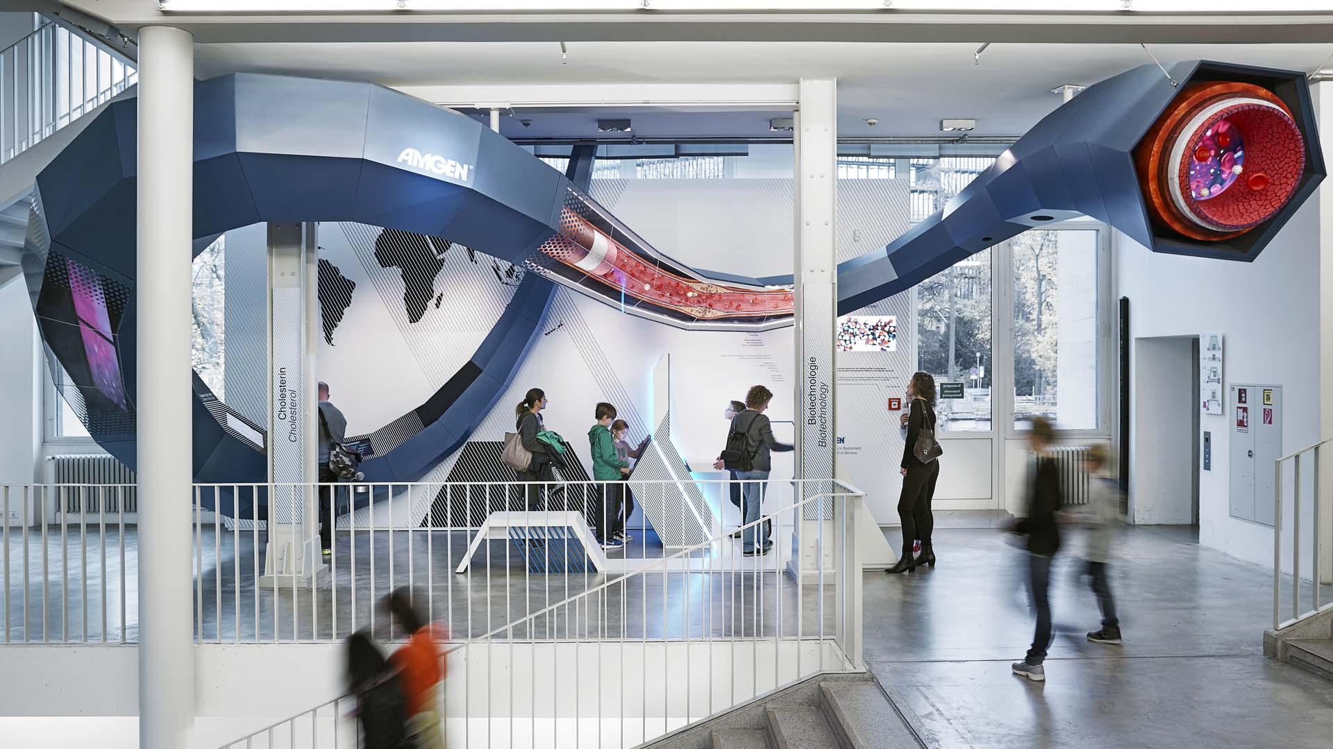 interaktiv, interactive, installation, themeninsel, amgen, biotechnologie, biotechnology, deutsches museum, munich, muenchen, visuarte